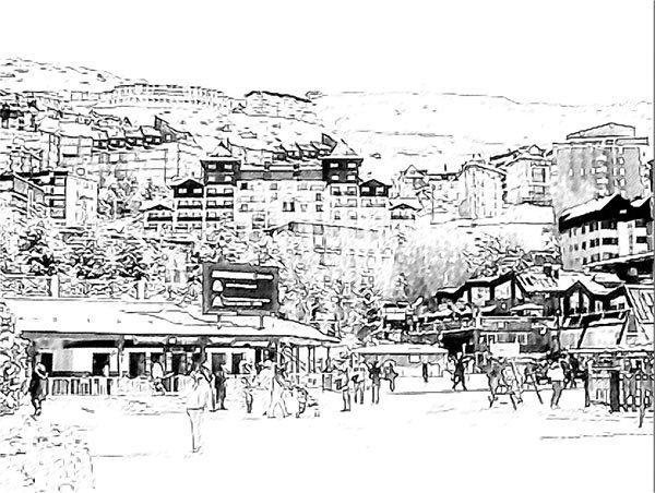 paisaje urbano en acuarela