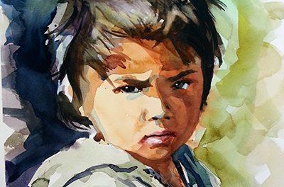 Pintando un retrato en acuarela